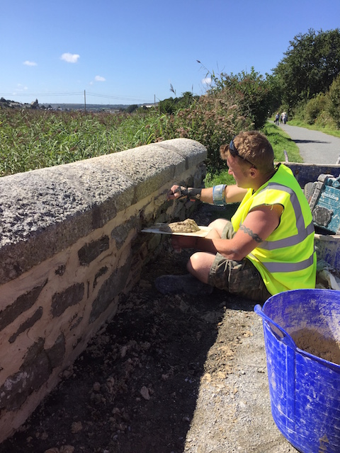 lime pointing the Here is Hayle Bridge West Cornwall