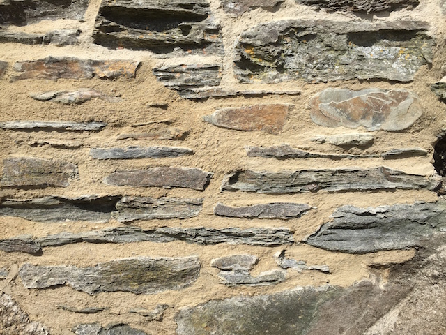 A close up of lime repointing West cornwall