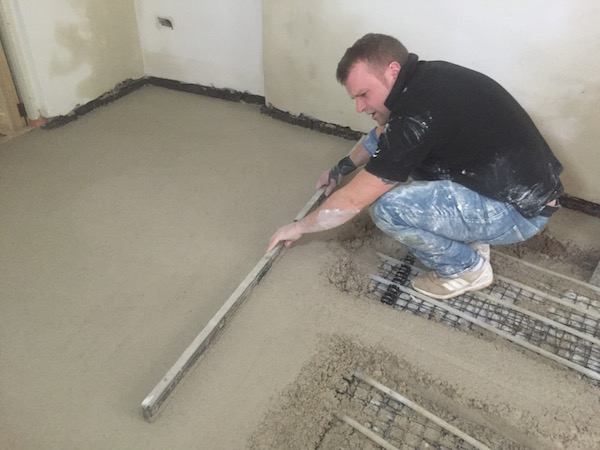 screeding a floor in a renovated property cornwall