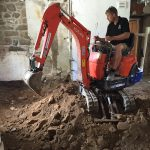 Pre Limecrete.Digging out a grade 2 listed flooring Cornwall